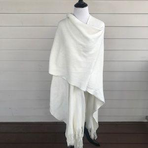 White Acrylic Oversize Fringe Cape Shawl Wrap